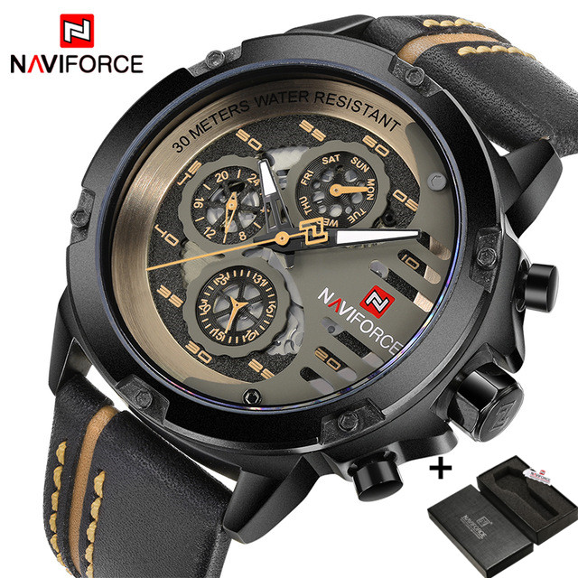 NAVIFORCE 9110 Mens Watches Luxury Military Sport Leather Quartz Waterproof Wristwatches Men's Watch brown one size