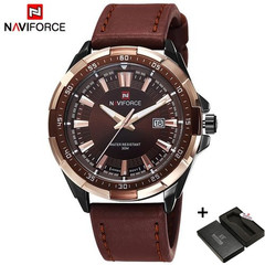 NAVIFORCE Original Brand Fashion Men's Watch Quartz Watch Men Waterproof Wrist watch Military Clock black one size