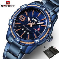 NAVIFORCE Men Watch Date Week Sport Mens Watches Luxury Military Army Business Steel Band blue2 one size