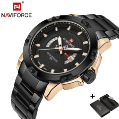 New Naviforce Fashion Watches Men Luxury Brand Full Stainless Steel Date Sports black one size
