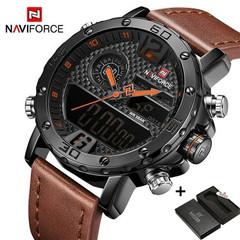 NAVIFORCE Watches Luxury Men Leather Sports Watches Men's Quartz LED Digital Waterproof Military black one size