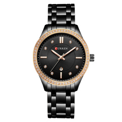 CURREN Ladies WristWatch Women New Fashion Female Calendar Quartz Ladies Watches Casual Steel Clock black one size
