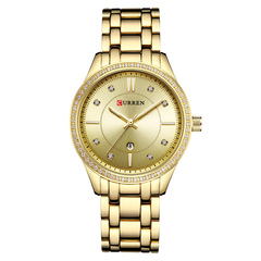 CURREN Ladies WristWatch Women New Fashion Female Calendar Quartz Ladies Watches Casual Steel Clock gold one size