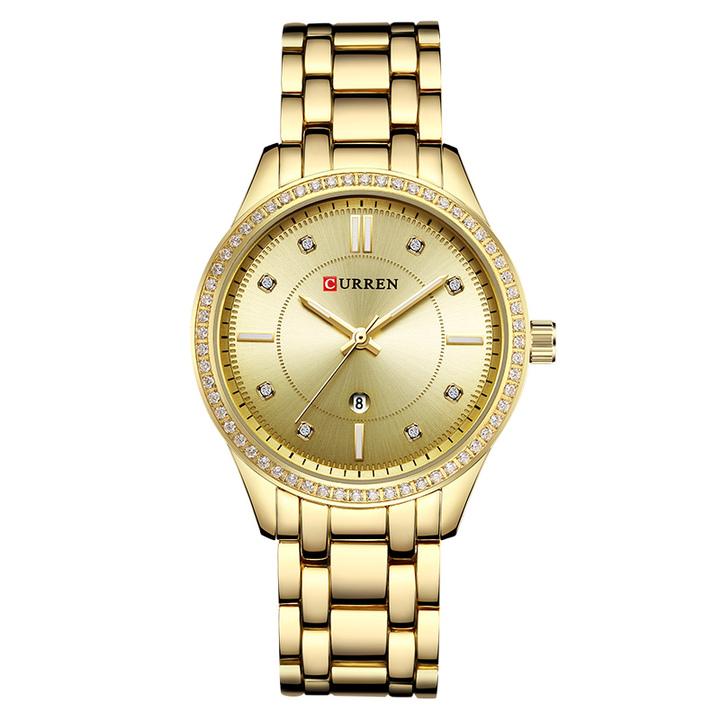 CURREN Ladies WristWatch Women New Fashion Female Calendar Quartz Ladies Watches Casual Steel Clock gold one size