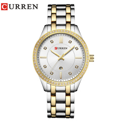 CURREN Ladies WristWatch Women New Fashion Female Calendar Quartz Ladies Watches Casual Steel Clock silver  gold one size