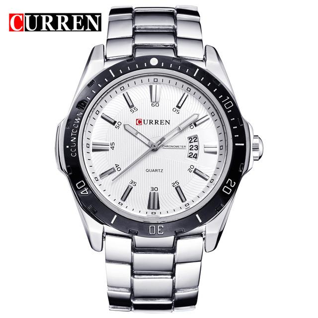 CURREN 8110 watches men Top Brand fashion watch quartz watch male men Army sports Analog Casual Silver white one size