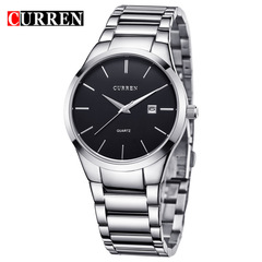 Curren Business Men Male Luxury Watch Casual Full steel Calendar Wristwatches quartz watches black silver one size