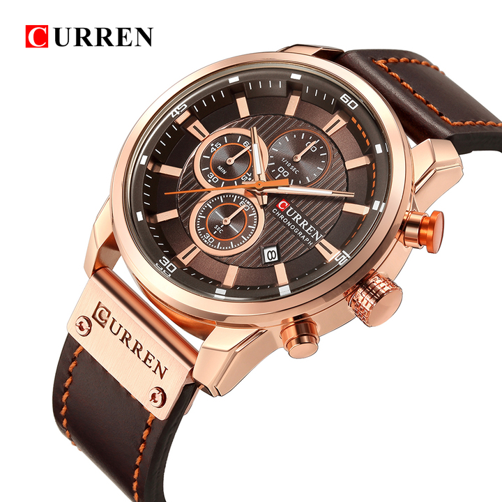 Luxury CURREN Fashion Leather Strap Quartz Men Watches Casual Date Business Male Wristwatches Clock 2 one size