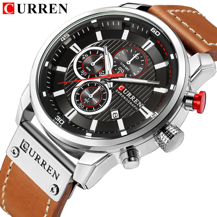 Luxury CURREN Fashion Leather Strap Quartz Men Watches Casual Date Business Male Wristwatches Clock 1 one size