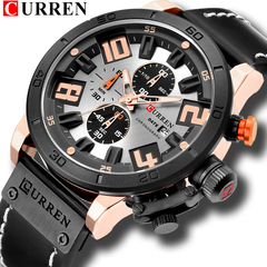 Mens Fashion Chronograph Quartz Digital Wristwatch CURREN Leather Strap Watches Waterproof 30M 1 one size