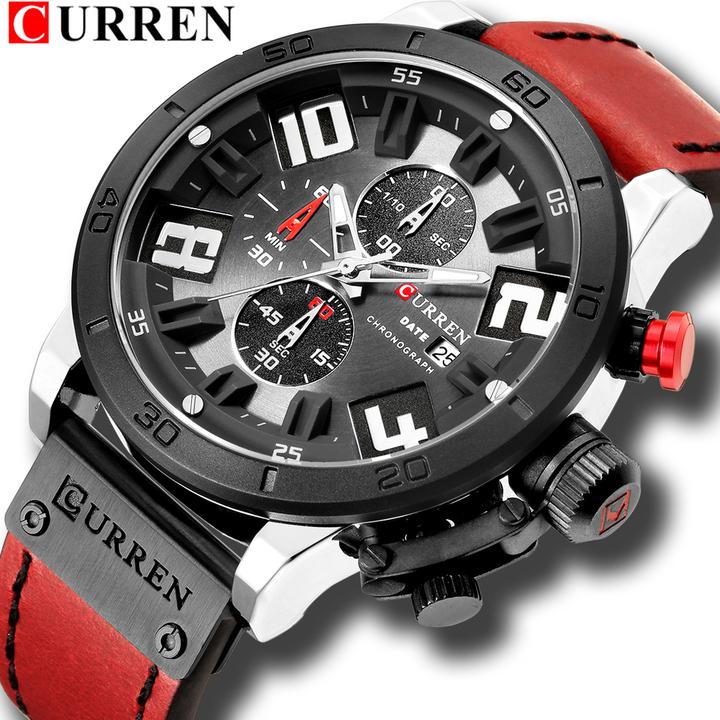 Mens Fashion Chronograph Quartz Digital Wristwatch CURREN Leather Strap Watches Waterproof 30M 2 one size