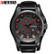 Curren Army Military Quartz Watches Top Brand Luxury Leather Men Watch Casual Sport Male Clock Watch black red one size