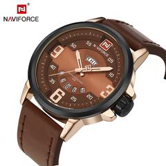 NAVIFORCE Men's Sports Watches Luxury Leather Military Quartz Gold Watch Men Casual Quartz-watch brown one size