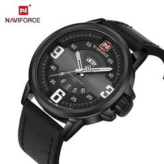 NAVIFORCE Men's Sports Watches Men Leather Military Quartz Black Watch Men Casual Quartz-watch black one size