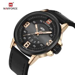 NAVIFORCE Men's Sports Watches Men Leather Military Quartz Gold Watch Men Casual Quartz-watch black one size
