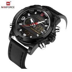 NAVIFORCE Men Sport Watches Male Quartz Digital Clock Man Waterproof Leather Army Wrist Watch black one size