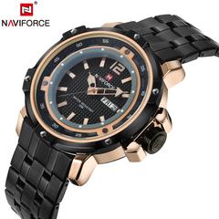 NAVIFORCE Watch Date Week Sport Mens Watches Luxury Military Army Business Steel Quartz Male Clock black one size
