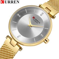 Diamond Clock Female Thin Quartz Women Watches Steel Mesh Strap Fashion Dress Ladies WristWatch gold one size