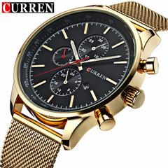 CURREN Luxury Fashion Casual Sports Men Watches Stainless Steel Business Wristwatch Date Male Clock gold one size
