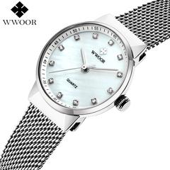 WWOOR Watches Ladies Waterproof Quartz Women Brand Luxury Silver Bracelet Dress Watch Female Clock silvery one size