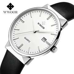 WWOOR Men's Watch Luxury Waterproof Analog Quartz Clock Male Leather Belt Casual Sports Watches Men white one size