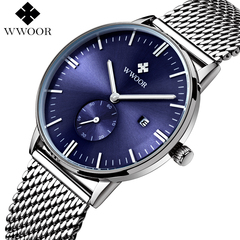 WWOOR Men's Brand Luxury Waterproof Analog Quartz Clock Male Leather Belt Casual Sports Watches blue one size
