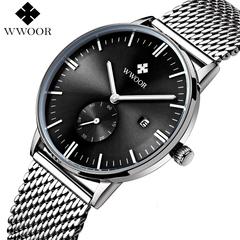 WWOOR Men's Watch Brand Luxury Waterproof Analog Quartz Male Leather Belt Casual Sports Watches black one size