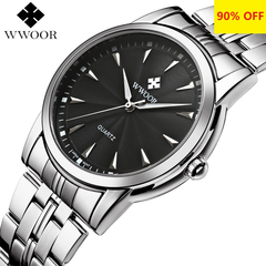 Quartz Watch Men Waterproof Mens Watch WWOOR 8028 MIYOTA Movement Simple Wristwatches Fixing Tool silvery one size