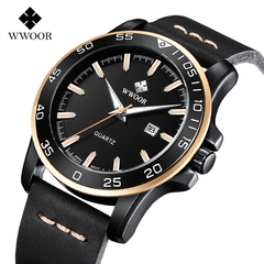 WWOOR Watch Men Casual Quartz Watch Men Date Fashion Creative Leather Waterproof Sport Wrist Watch gold one size