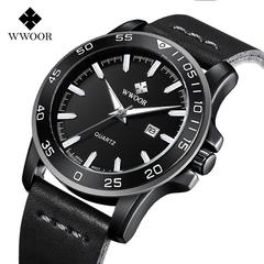Men Leather Sports Watches WWOOR Quartz wristwatch Men Waterproof Military Watch black one size
