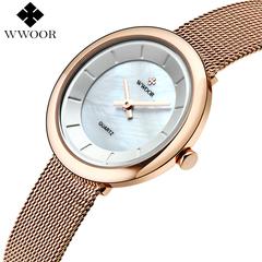 WWOOR Women Watches 2017 Montre Femme Fashion Ladies Bracelet Ultrathin crust Quartz Wrist Watch gold one size