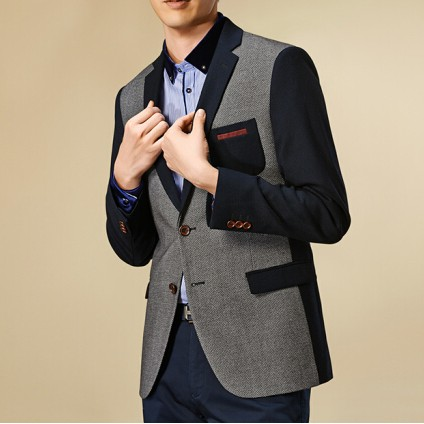 Thick Casual Men Blazer Cotton High Quality Luxury Fashion Brand Men Suit Coat Winter Wedding Groom gray 165/84y (46a)