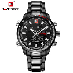 NAVIFORCE Watch Men Luxury Digital Analog Sport Wristwatch Military Stainless Steel Male Clock black one size