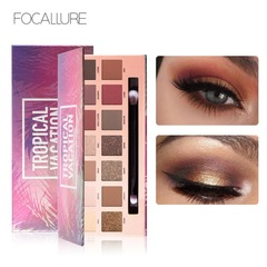 FOCALLURE Palette Matte Glitter Shimmer Tropical Vacation eyes shadow Palette with Brush T