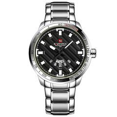 NAVIFORCE Men Stainless Steel Gold Watch Men's Quartz Clock Man Sports Waterproof Wrist Watches silver black one size