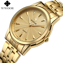 Quartz Watch Men Waterproof Mens Watch WWOOR Simple Wristwatches with Watchband Fixing Tool gold one size