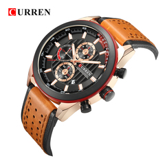 CURREN Wristwatches Fashion Arrival Calendar Casual Men Watches  Leather Chronograph Quartz watch 1 one size