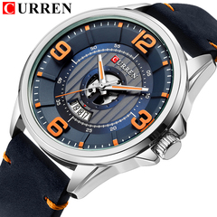 Mens Watches CURREN Leather Wristwatch Analog Army Military Quartz Time Man Waterproof Clock Fashion 1 one size