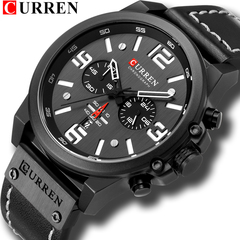 Mens Watches  Luxury Men Military Sport Wristwatch Leather Quartz Watch curren 1 one size