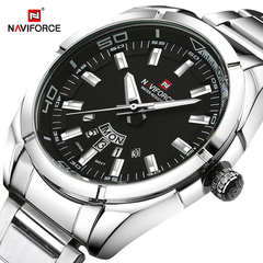 NAVIFORCE Luxury Men Casual Fashion Sports Watches Men's Date Clock Full Steel Quartz Wrist watch 1 one size