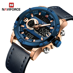 NAVIFORCE Men Sport Watches Male Luxury Quartz Digital Clock Man Waterproof Leather Army Wrist Watch 1 one size