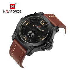 Fashion Mens Watches Naviforce Militray Sport Quartz Men Watch Leather Waterproof Male Wristwatches 1 one size