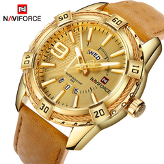 NAVIFORCE Sport Quartz Watch Waterproof Mens Watches Luxury Genuine Leather Date Week Clock 1 one size