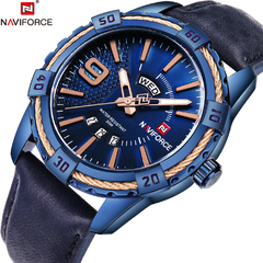 NAVIFORCE Sport Quartz Watch Waterproof Mens Watches Luxury Genuine Leather Date Week Clock 2 one size