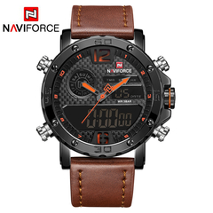 NAVIFORCE Luxury Brand Leather Sports Watches Men's Quartz Digital Clock Waterproof Military Watch 1 one size