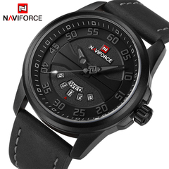NAVIFORCE Men Quartz watch Military Sports Watches Men's Date Clock Man Leather Strap Waterproof 1 one size