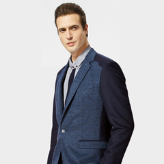Thick Casual Men Blazer Cotton High Quality Luxury Fashion Brand Men Suit Coat Winter Wedding Groom blue m