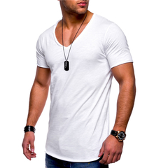 Men's Tops Tees summer new cotton v neck short sleeve t shirt men fashion trends fitness t shirt white m cotton