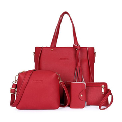 4pcs Woman Bag Set Fashion Female Purse and Handbag Four-Piece Shoulder Bag Tote Messenger Purse Bag red one size