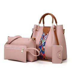 Women Pouch Bags Ladies Handbags 4 set Shoulder Bag Soft High Quality PU Casual Female Bag pink one size